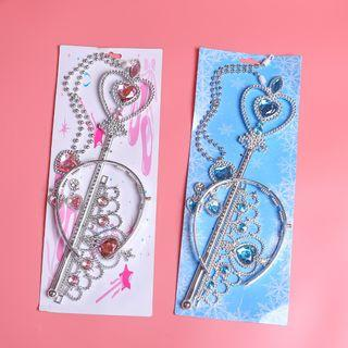Princess Frozen Accessory Set of 4 ready stock blue pink color tiara magic wand necklace earing