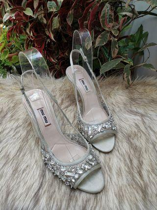 Authentic Miu Miu Embellished Crystal Silver Satin With Transparent Slingback Pumps Size 37