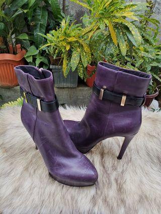 Authentic Carolina Espinosa Purple Leather Platform Pumps Ankle Boots Size 6.5 fits 37