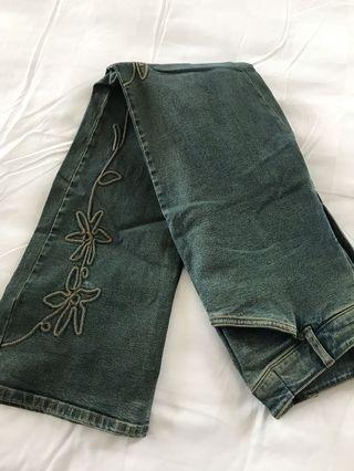 Authentic Green Embroidered Long Jeans