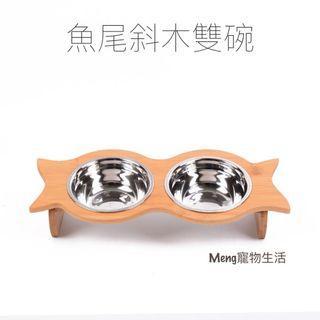 💜預購💜實木不鏽鋼寵物雙碗