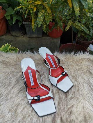 Authentic Luciano Padovan White Leather Slingback Kitten Heel Pumps Sandals Size 36