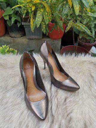 Authentic Schutz Metallic Grey Silver Leather Pumps Size 35