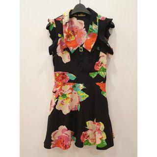 雪紡印花荷葉袖洋裝 ~ 花朵印花無袖洋裝