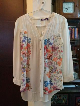 White flowery loose blouse
