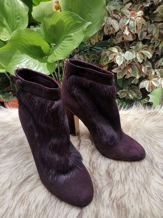 Authentic Dolce And Gabbana Maroon Purple Suede Leather With Real Fur Ankle Boots Pump Size 37.5