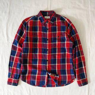 Global work tartan indigo shirt