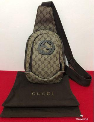 GUCCI 240811 BROWN ORIGINAL LEATHER MEN'S CHEST BAG