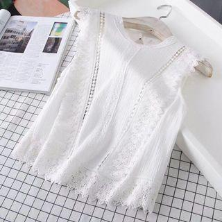 OshareGirl 07 歐美女士經典純色復古風格蕾絲拼接上衣背心罩衫