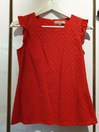 Lzzie red ruffle sleeve top