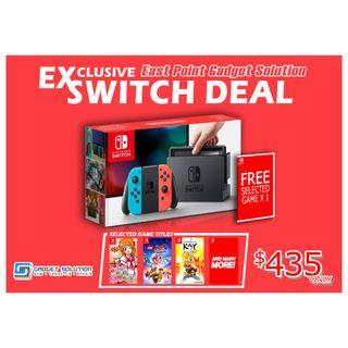 BRAND NEW Nintendo SWITCH Color / Grey Console with FREE GAME & FREE JOY CON STRAP With 1 Year Warranty