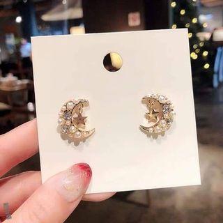 925銀針 珍珠星月耳環