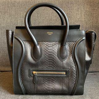 Celine Mini Luggage Black Python
