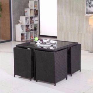 Outdoor Square Table Space Saving - Black