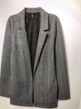 H&M Patterned Long Knit Jacket Blazer Size XS