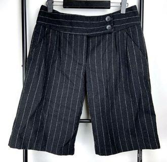 Cue 10 black basic pinstripe pants shorts smart casual work wool blend designer
