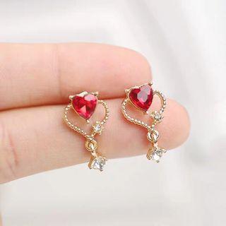 Maybee 飾品 耳環 耳釘 紅寶石 心形