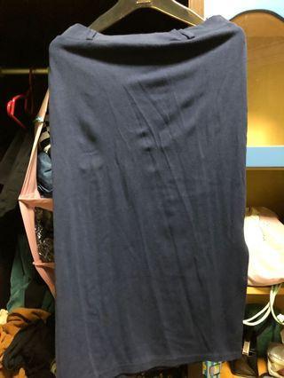 Navy Side Slit Midi Skirt