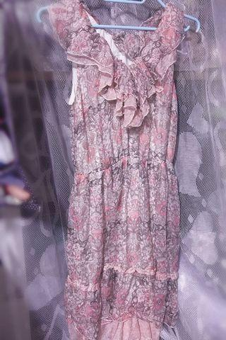 斯文裙 woman onepiece dress pink japan flowers