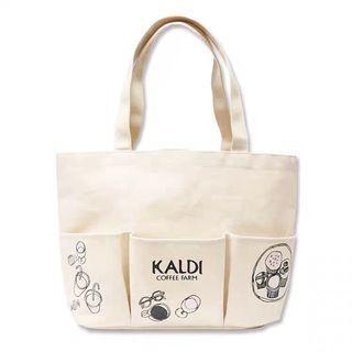 Kaldi 日本附錄 多口袋大容量厚實帆布包 環保袋購物袋 托特包