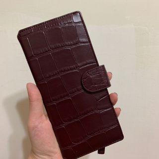 韓國製 酒紅色扁長夾 便夾 錢包 皮夾