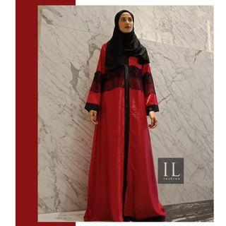 Abaya Gamis Arab Merah Brukat Winda IL Fashion