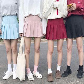 🚚 🇰🇷韓妞可愛灰粉色百褶裙