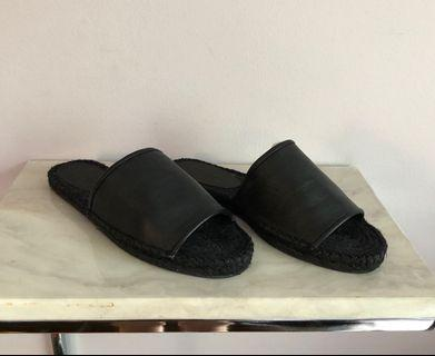Black Leather Little Burgundy Slides 8.5