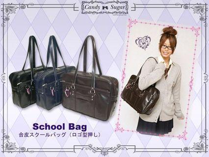 Candy Sugar Japan Official Synthetic Leather Pressed Logo Japanese School Bag