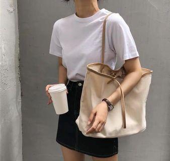 (B1008001) 新款 簡約 時尚 帆布 肩背 女裝袋