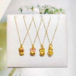 Real 999 gold pendant 18K gold necklace