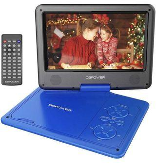 [VP-001] DBPOWER 9.5-Inch Portable DVD Player with Rechargeable Battery, SD Card Slot and USB Port - Blue