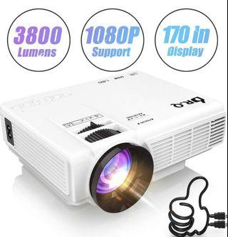 [PROJ-002] DR.Q HI-04 Projector 1080P Full HD and 170'' Display Supported, 3800 Lumen Video Projector Compatible with TV Stick PS4 XBOX HDMI VGA TF AV USB, Home Theater Projector, White.