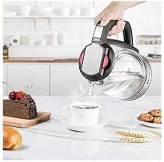 [KITCHEN-001] Electric Kettle Glass Tea Kettle, 1.7L Ultra Fast Water Boiler, Durable Borosilicate Glass and 304 Stainless Steel, Double Safety Locker, Boil Dry Protection and Auto Shut off, BPA Free, Aicok