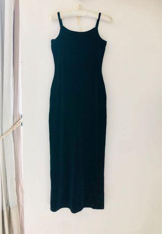 Formal black suede gown