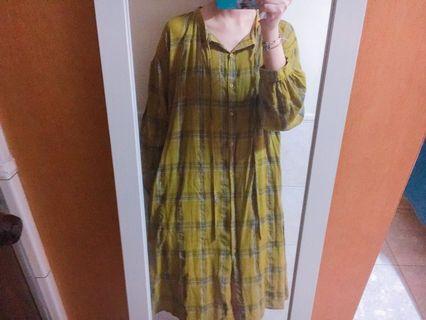 寬鬆棉麻格紋洋裝