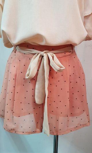 🚚 韓版鬆緊腰黑點雪紡褲 粉橘色(S~M號都可穿)