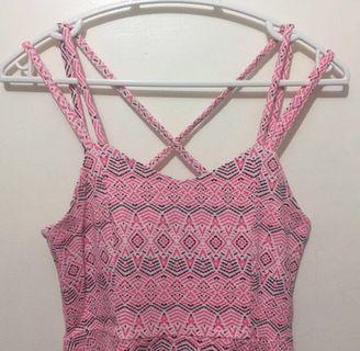 ORIG Aeropostale Strappy Dress Pink Neon Aztec