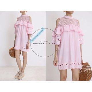 韓國粉紅色露膊連身裙 / korea pink dress