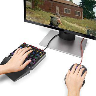 One Handed Keyboard One-Handed Mechanical Gaming Keyboard RGB LED Backlit SADES Portable Mini Gaming Keypad for LOL/PUBG/Wow/Dota/OW/Fps Game by SADES