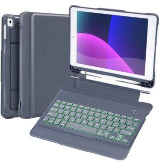 [KB-001] iPad Keyboard Case Compatible iPad 9.7 2017(5th Gen), 2018(6th Gen), Pro 9.7, Air 2, Air-Detachable Backlit Wireless Keyboard Stand Case/Heavy Duty Shockproof Rugged Case with Stylus Holder