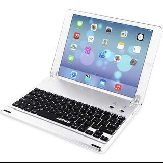 🚚 [KB-002] Arteck Ultra-Thin Apple iPad Air 2/9.7-inch iPad Pro Bluetooth Keyboard Folio Case Cover with Built-in Stand Groove for Apple iPad Air 2 with 130 Degree Swivel Rotating-Silver