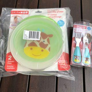 BN Skip Hop Non-Slip plate with Fork & Spoon set