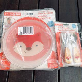 🚚 BN Skip Hop Non-slip plate with fork and spoon set