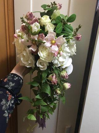 新娘 水滴型絲花球 外影 婚禮 附外影效果圖