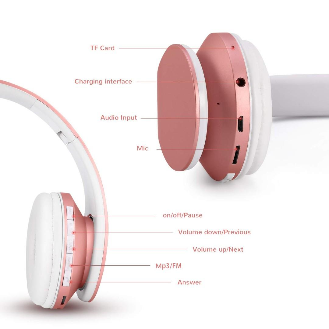 3736 Zapig Wireless Kids Headphones With Microphone Children S Wireless Bluetooth Headphones Foldable Bluetooth Stereo Over Ear Kids Headsets Rose Gold Electronics Others On Carousell