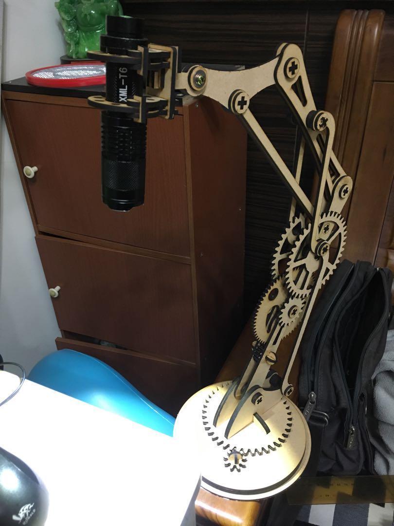 木質機械檯燈手電筒款