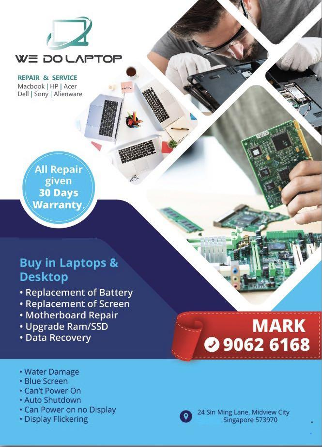 All laptop repair and service