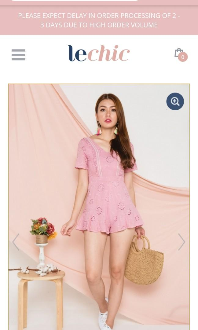 Angelic Anglaise Eyelet Romper Pink
