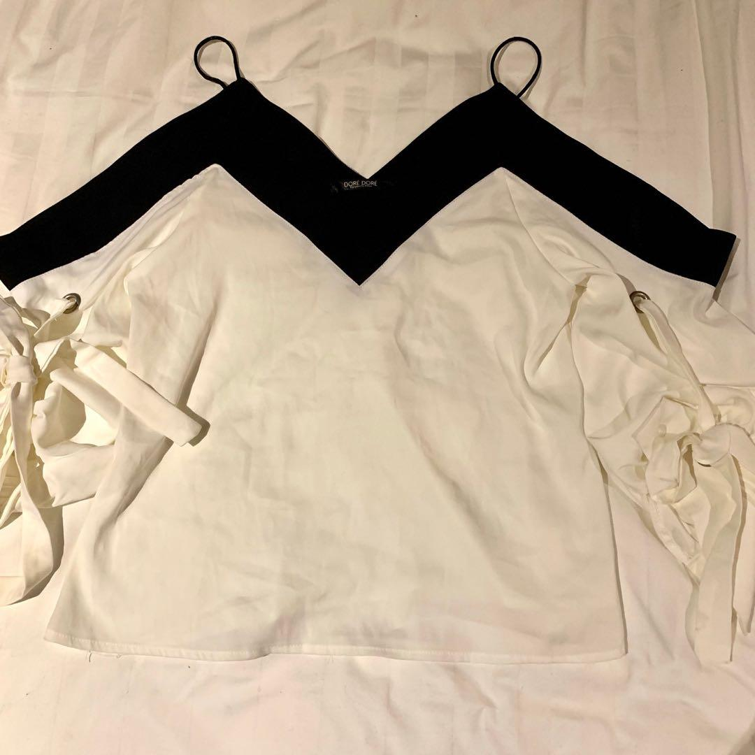 Black & White shirt blouse with delicate tie bowknot